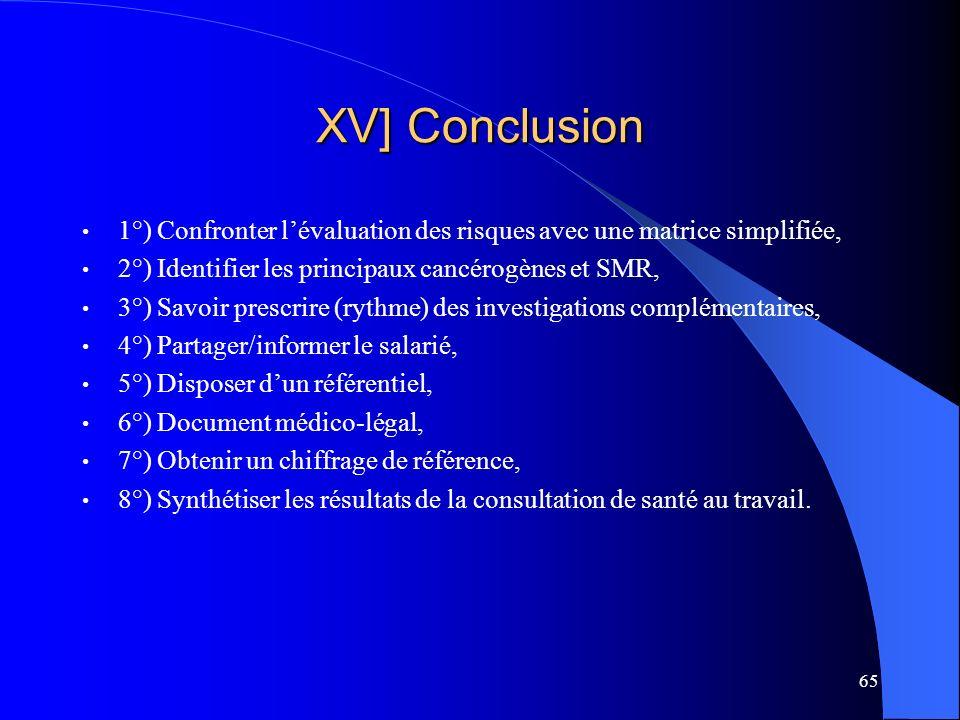 XV] Conclusion 1°) Confronter l'évaluation des risques avec une matrice simplifiée, 2°) Identifier les principaux cancérogènes et SMR,